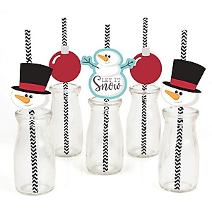 Let It Snow - Snowman - Paper Straw Decor - Holiday & Christmas Party Striped Decorative Straws - Set of 24