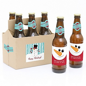 Let It Snow - Snowman - Decorations for Women and Men - 6 Holiday & Christmas Party Beer Bottle Label Stickers and 1 Carrier