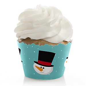 Let It Snow - Snowman - Holiday & Christmas Party Decorations - Party Cupcake Wrappers - Set of 12