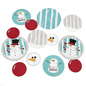 Let It Snow - Snowman - Holiday & Christmas Party Giant Circle Confetti - Winter Party Decorations - Large Confetti 27 Count