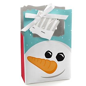 Let It Snow - Snowman - Holiday & Christmas Party Gift Favor Boxes - Set of 12