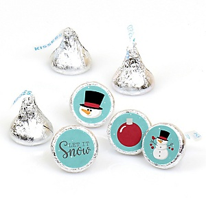 Let It Snow - Snowman - Round Candy Labels Holiday & Christmas Party Favors - Fits Hershey Kisses - 108 ct