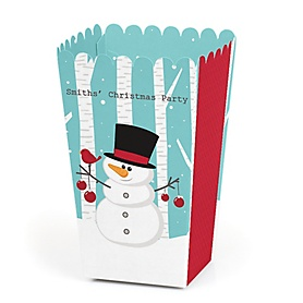Let It Snow - Snowman - Personalized Holiday & Christmas Party Popcorn Favor Treat Boxes - Set of 12