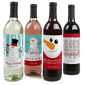 Let It Snow - Snowman - Holiday & Christmas Party Wine Bottle Label Stickers - Set of 4