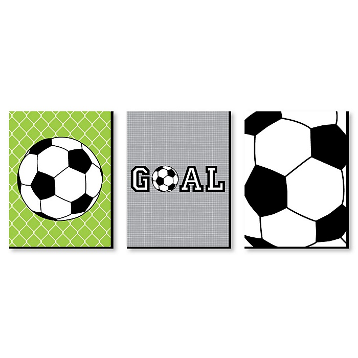 GOAAAL! - Soccer - Sports Themed Nursery Wall Art, Kids Room Decor and Game Room Home Decorations - 7.5 x 10 inches - Set of 3 Prints