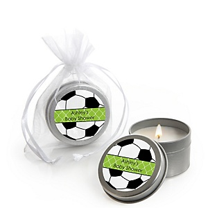 GOAAAL! - Soccer - Personalized Baby Shower Candle Tin Favors - Set of 12