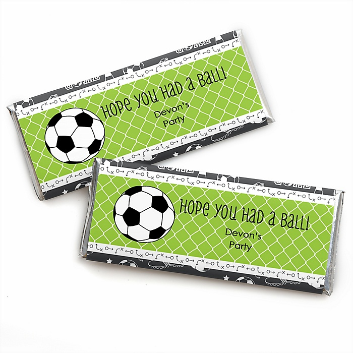GOAAAL! - Soccer - Personalized Candy Bar Wrapper Baby Shower or Birthday Party Favors - Set of 24