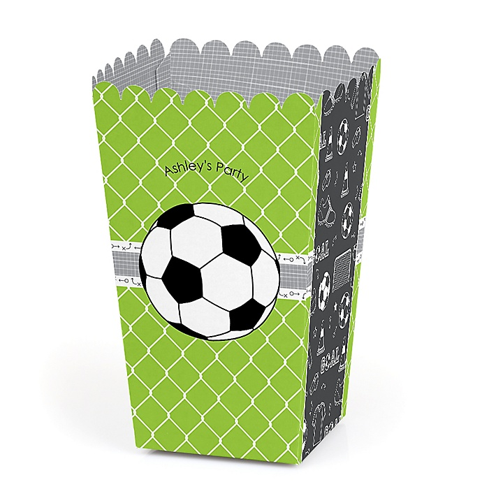 GOAAAL! - Soccer - Personalized Party Popcorn Favor Treat Boxes - Set of 12