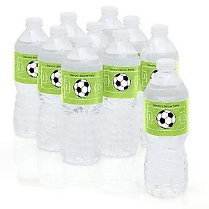 GOAAAL! - Soccer - Personalized Party Water Bottle Sticker Labels - Set of 10