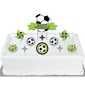 GOAAAL! - Soccer - Birthday Party Cake Decorating Kit - Happy Birthday Cake Topper Set - 11 Pieces