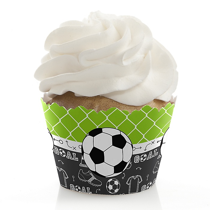 GOAAAL! - Soccer - Birthday Decorations - Party Cupcake Wrappers - Set of 12