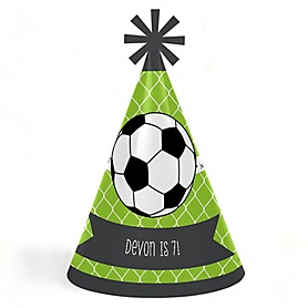 GOAAAL! - Soccer - Personalized Cone Happy Birthday Party Hats for Kids and Adults - Set of 8 (Standard Size)