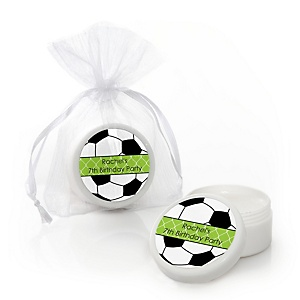 GOAAAL! - Soccer - Personalized Birthday Party Lip Balm Favors - Set of 12