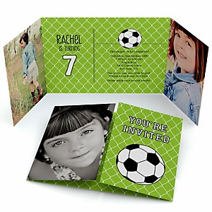 Goaaal soccer birthday party theme bigdotofhappiness soccer personalized birthday party photo invitations filmwisefo Image collections