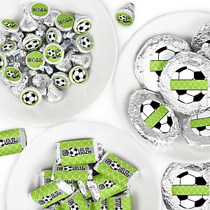 GOAAAL! - Soccer - Mini Candy Bar Wrappers, Round Candy Stickers and Circle Stickers - Baby Shower or Birthday Party Candy Favor Sticker Kit - 304 Pieces