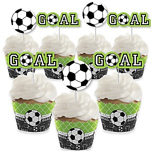 GOAAAL! - Soccer - Cupcake Decorations - Baby Shower or Birthday Party Cupcake Wrappers and Treat Picks Kit - Set of 24