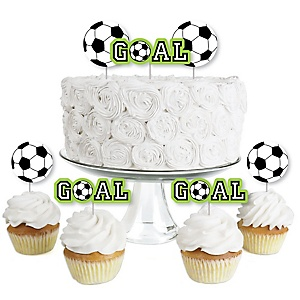 GOAAAL! - Soccer - Dessert Cupcake Toppers - Baby Shower or Birthday Party Clear Treat Picks - Set of 24
