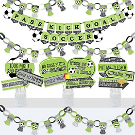 GOAAAL! - Soccer - Banner and Photo Booth Decorations - Baby Shower or Birthday Party Supplies Kit - Doterrific Bundle