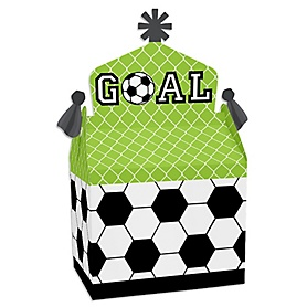 GOAAAL! - Soccer - Treat Box Party Favors - Baby Shower or Birthday Party Goodie Gable Boxes - Set of 12