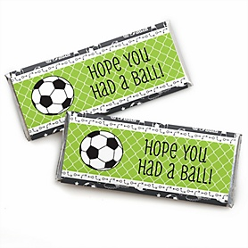 GOAAAL! - Soccer -  Candy Bar Wrapper Baby Shower or Birthday Party Favors - Set of 24