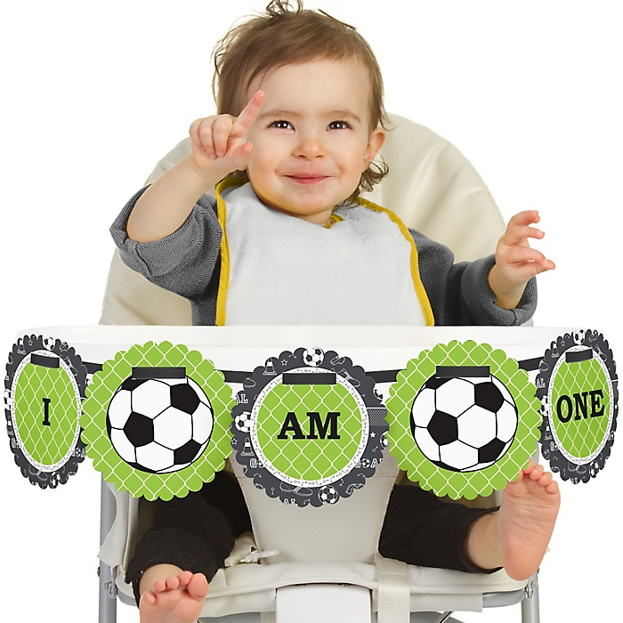 GOAAAL! - Soccer 1st Birthday - I am One - First Birthday High Chair Banner