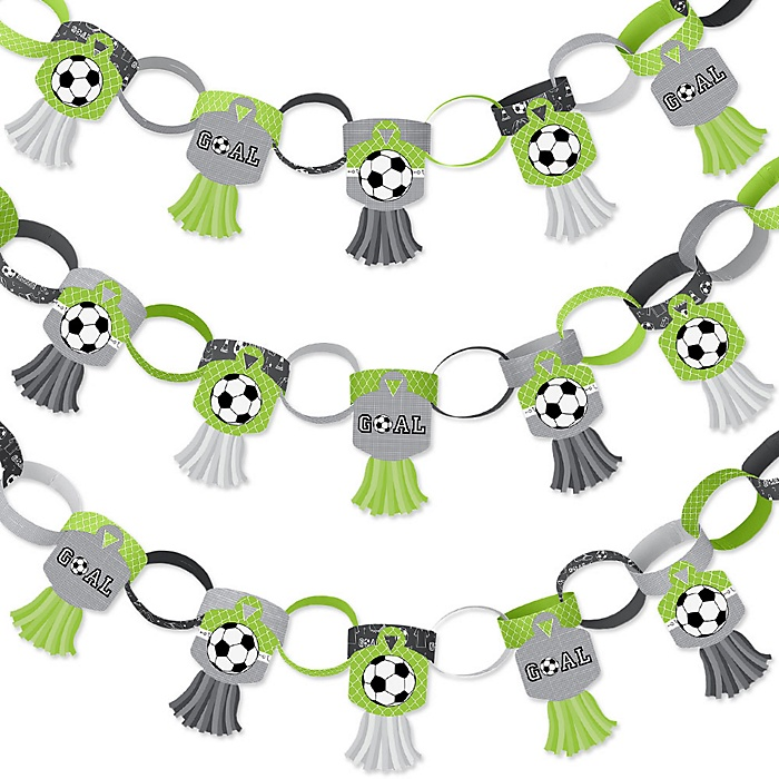GOAAAL! - Soccer - 90 Chain Links and 30 Paper Tassels Decoration Kit - Baby Shower or Birthday Party Paper Chains Garland - 21 feet