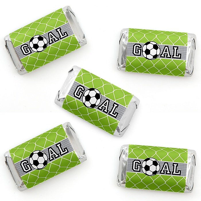 GOAAAL! - Soccer - Mini Candy Bar Wrapper Stickers - Baby Shower or Birthday Party Small Favors - 40 Count
