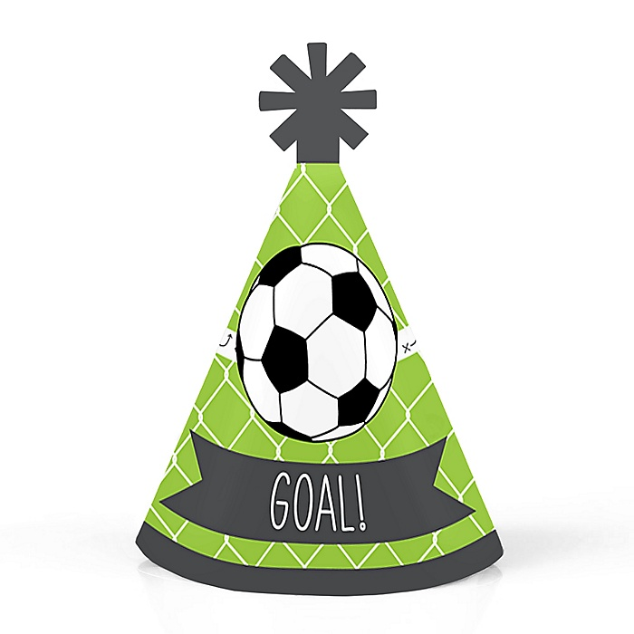 GOAAAL! - Soccer - Personalized Mini Cone Baby Shower or Birthday Party Hats - Small Little Party Hats - Set of 10