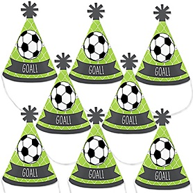 GOAAAL! - Soccer - Mini Cone Baby Shower or Birthday Party Hats - Small Little Party Hats - Set of 8