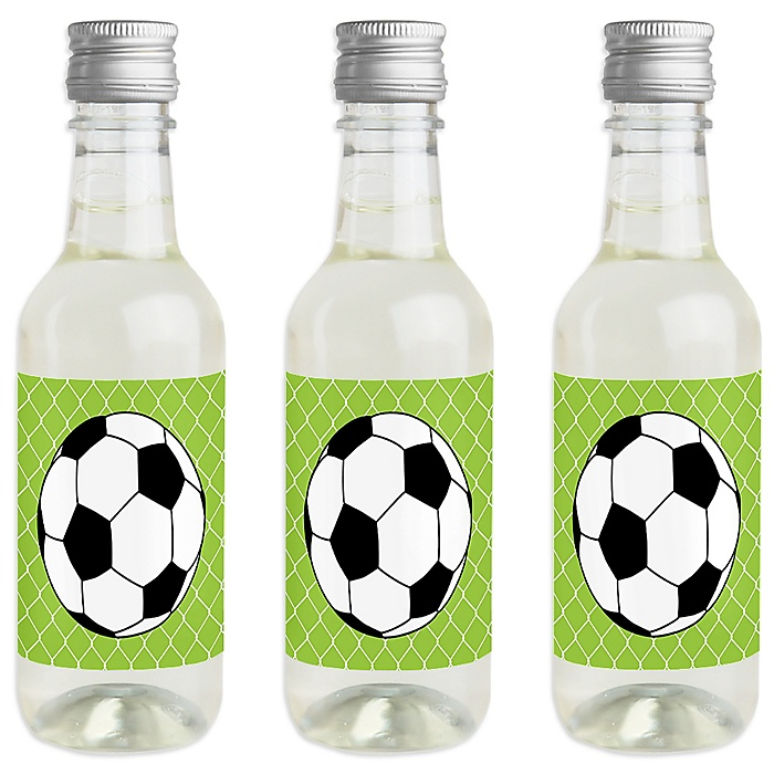 GOAAAL! - Soccer - Mini Wine and Champagne Bottle Label Stickers - Baby Shower or Birthday Party Favor Gift for Women and Men - Set of 16
