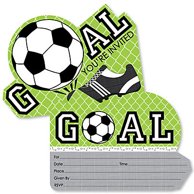 goaaal soccer shaped fill in invitations baby shower or