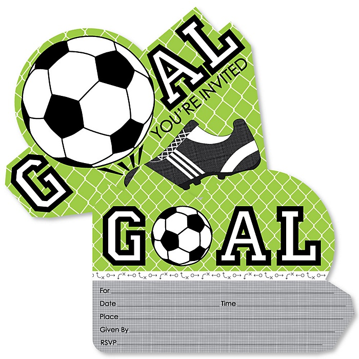 GOAAAL! - Soccer - Shaped Fill-In Invitations - Baby Shower or Birthday Party Invitation Cards with Envelopes - Set of 12