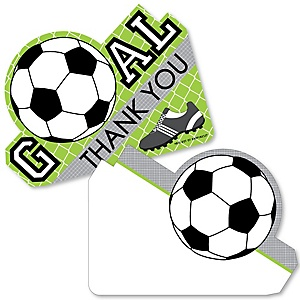 GOAAAL! - Soccer - Shaped Thank You Cards - Baby Shower or Birthday Party Thank You Note Cards with Envelopes - Set of 12