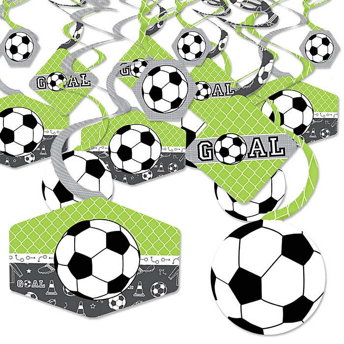 GOAAAL! - Soccer - Baby Shower or Birthday Party Hanging Decor - Party Decoration Swirls - Set of 40