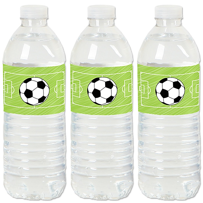 GOAAAL! - Soccer - Baby Shower or Birthday Party Water Bottle Sticker Labels - Set of 20