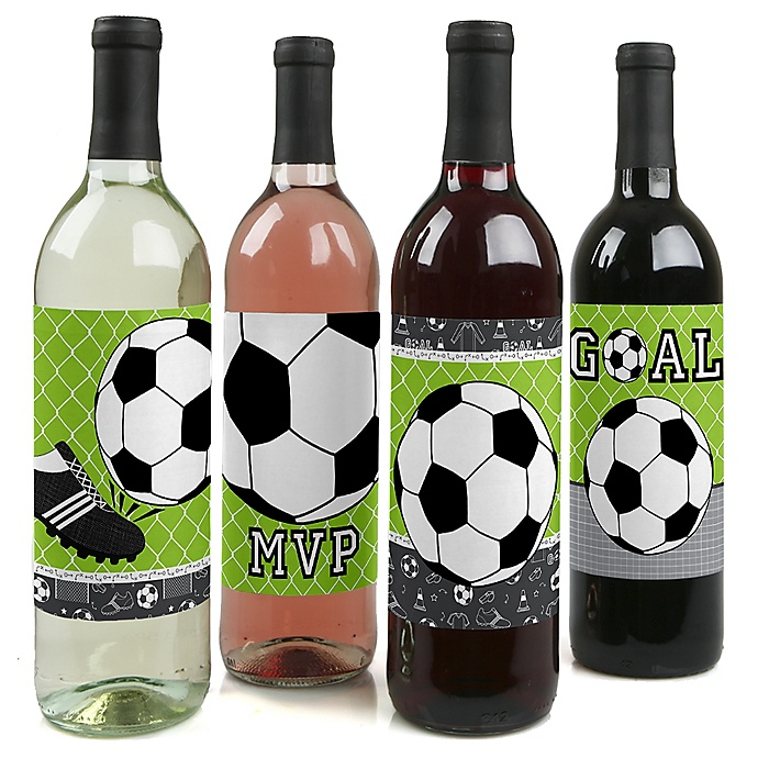 GOAAAL! - Soccer - Baby Shower or Birthday Party Decorations for Women and Men - Wine Bottle Label Stickers - Set of 4