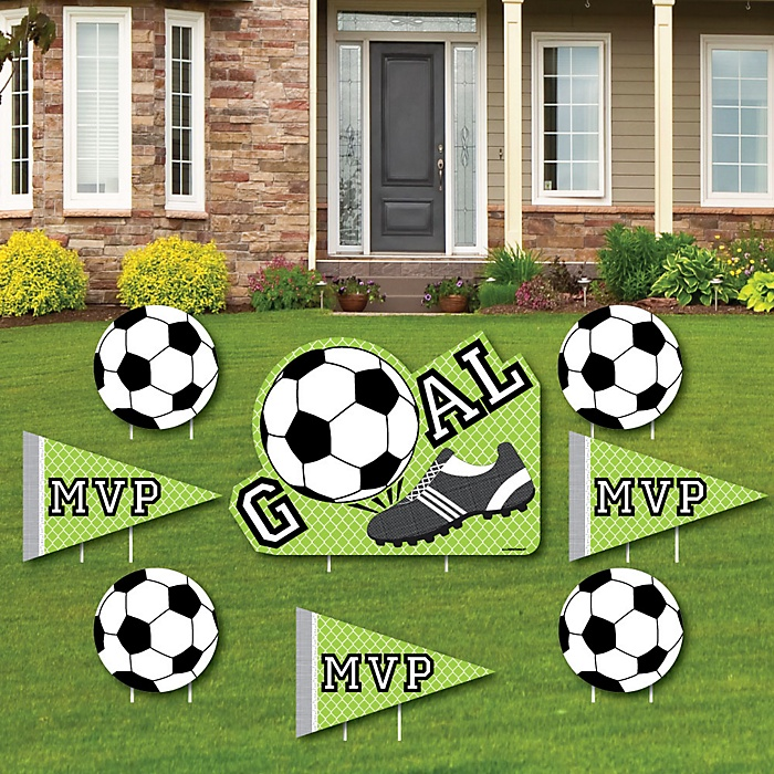 GOAAAL! - Soccer - Yard Sign & Outdoor Lawn Decorations - Baby Shower or Birthday Party Yard Signs - Set of 8