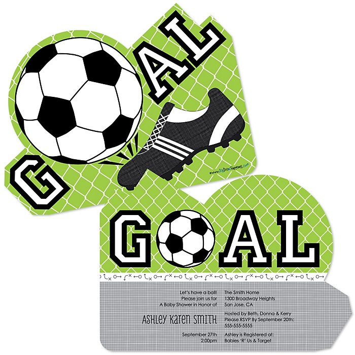 GOAAAL! - Soccer - Shaped Baby Shower Invitations - Set of 12