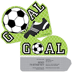 GOAAAL! - Soccer - Personalized Birthday Party Invitations - Set of 12