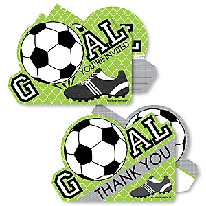 GOAAAL! - Soccer - 20 Shaped Fill-In Invitations and 20 Shaped Thank You Cards Kit - Baby Shower or Birthday Party Stationery Kit - 40 Pack