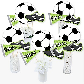 GOAAAL! - Soccer - Baby Shower or Birthday Party Centerpiece Sticks - Table Toppers - Set of 15