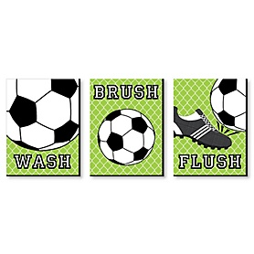 GOAAAL! - Soccer - Kids Bathroom Rules Wall Art - 7.5 x 10 inches - Set of 3 Signs - Wash, Brush, Flush