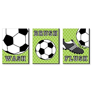 GOAAAL! - Soccer - Kids Bathroom Rules Wall Art - 7.5 x 10 inches - Set of 3 Signs - Wash, Brush, Flush
