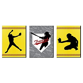 Grand Slam - Fastpitch Softball - Sports Themed Nursery Wall Art, Kids Room Decor and Game Room Home Decorations - 7.5 x 10 inches - Set of 3 Prints