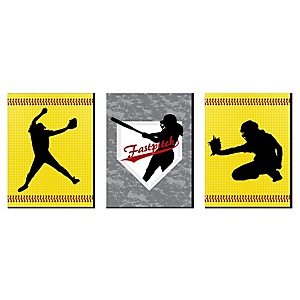 "Grand Slam - Fastpitch Softball - Nursery Wall Art, Kids Room Décor and Game Room Home Decorations - 7.5"" x 10"" - Set of 3 Prints"
