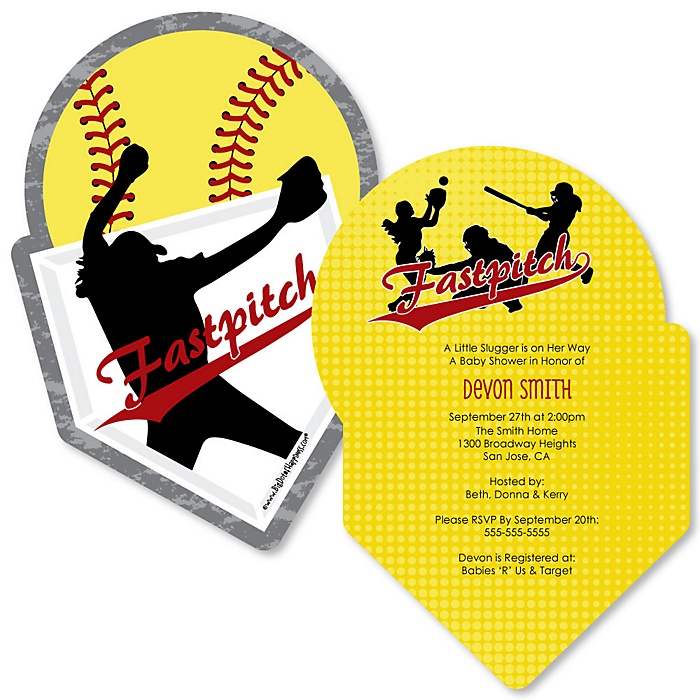 Grand Slam - Fastpitch Softball - Shaped Baby Shower Invitations - Set of 12
