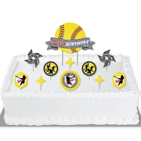 Grand Slam - Fastpitch Softball - Birthday Party Cake Decorating Kit - Happy Birthday Cake Topper Set - 11 Pieces