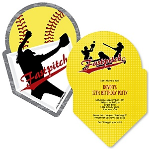 Grand Slam - Fastpitch Softball - Shaped  Birthday Party Invitations - Set of 12