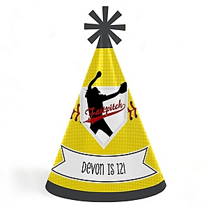 Grand Slam - Fastpitch Softball - Personalized Cone  Happy Birthday Party Hats for Kids and Adults - Set of 8 (Standard Size)