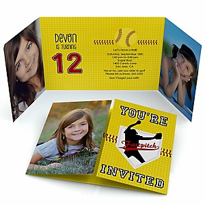 Grand Slam - Fastpitch Softball - Personalized  Birthday Party Photo Invitations - Set of 12